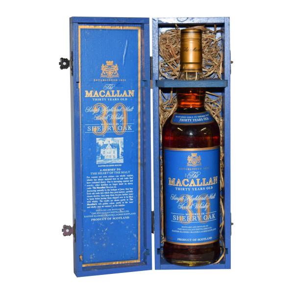 Macallan 30 Blue Box Open with straw & cert