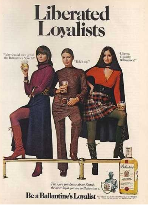 Whisky history vintage ad with women